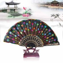 Summer Women Peacock Flower Print Folding Hand Fans Girl Dancing Fan Elegant Plum