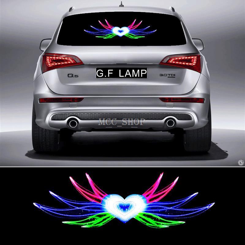 90*25cm Angel Hearts Flash Car Sticker Music Rhythm LED EL Sheet Light Lamp Sound Music Activated Equalizer<br>