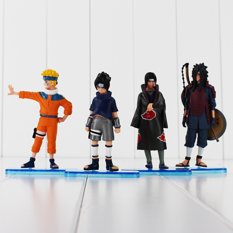 11-13cm 4pcs/lot Hot Anime Naruto Uchiha Sasuke Itachi Uchiha Madara Cool PVC Action Figure Model Toys Doll(China)