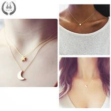 Hot sale delicate pendant necklace kolye Curved crescent moon star choker necklaces Gold silver women necklace girl jewelry gift(China)