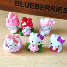 6 Pcs/set cute Hello Kitty action figure toys 5cm mini PVC cartoon cat model collection toys girls Christmas Birthday Gifts(China)