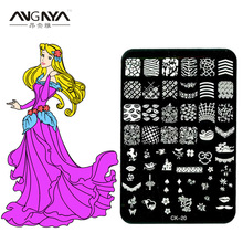 ANGNYA CK20 Series Nail Stamping Plates 1PC 14.5*9.5cm Stainless Steel DIY Polish Printing Nail Art Template Tools(China)