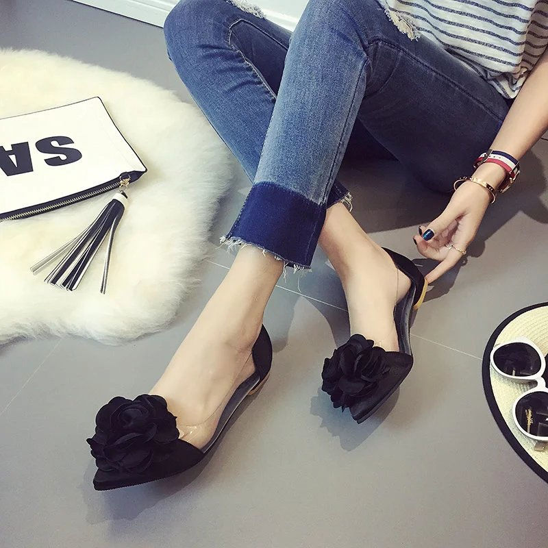 2017 Spring Summer Camellia Flat Heel Pointed Toe Shoes Sweet Silks Satins Flower Shallow Mouth Flats <br><br>Aliexpress
