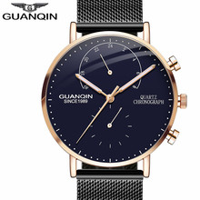 New GUANQIN Mens Watches Top Brand Luxury Chronograph Luminous Hands Clock Men Business Casual Creative Mesh Strap Quartz Watch