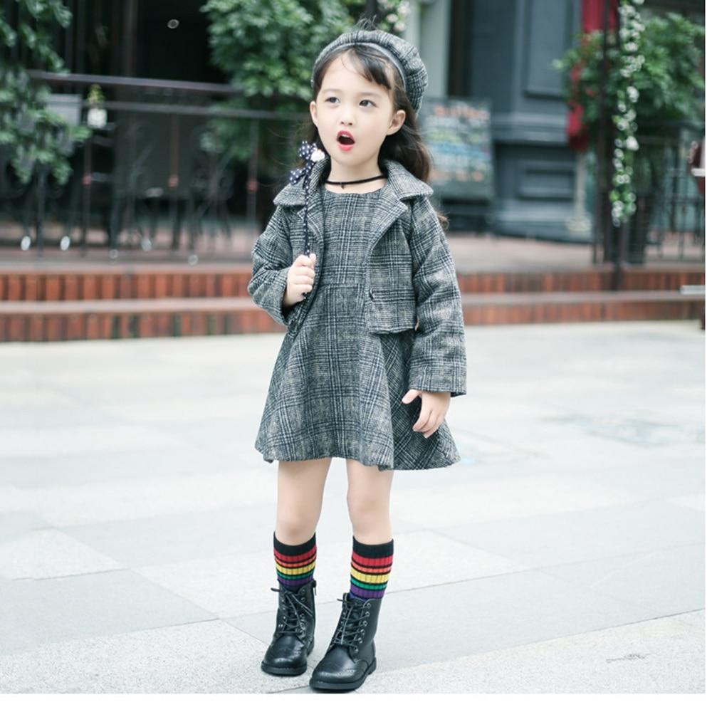 Woolen lattice vest skirt jacket Beret hat three suit autumn and winter plus cotton hair girl princess dress Y0065<br>