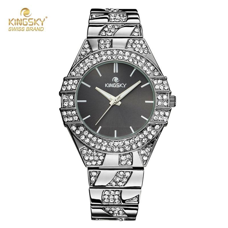 KINGSKY Watch Famous Brand Diamond Case Fashion Watches Japan Quartz Movement Ladies Wristwatch 2017 New Free Ship<br>