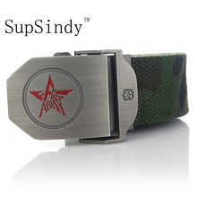 SupSindy Canvas belt Red Star Alloy buckle luxury belt Men's belts new fashion Military jeans belts Camouflage Top Quality 120cm
