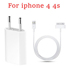 Good quality AC Travel Wall Power Adapter EU/US Plug Charger + sync data Charging Cable for iPhone 4 4s Charger 3G FOR ipod