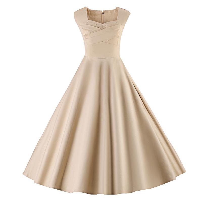 Kostlich 6 Color Retro Summer Dress Women 2017 Sleeveless Hepburn 50s Vintage Dress Elegant Big Swing Rockabilly Party Dresses (24)