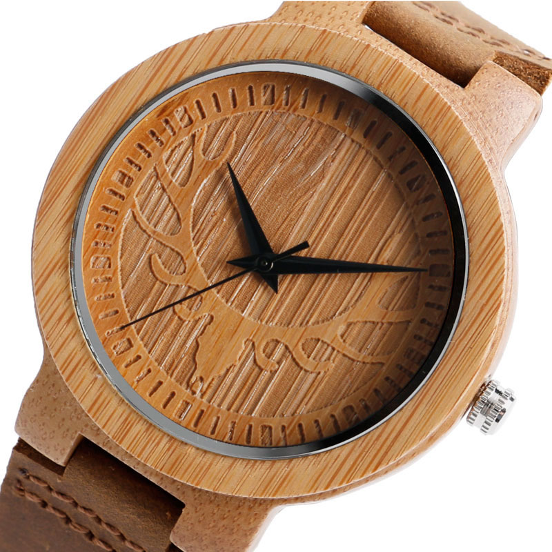 Casual Engraved Elk Deer Head Bamboo Wood Watches Genuine Leather Women Mens Quartz Wristwatch as Gift<br><br>Aliexpress