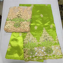 George-Fabric Making-Dress Lemon Green African Lace-Sets French-Net Gold-5yards High-Quality