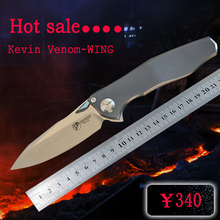 Kevin John VENOM 4 Wing M390 SOLID Titanium Flipper folding knife ceramic ball bearing camping hunting pocket knife EDC tools