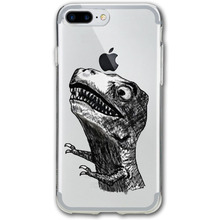 Anti-fingerprint design personality T Rex Rage Meme 3D Print For iPhone 7 Plus phone case(China)