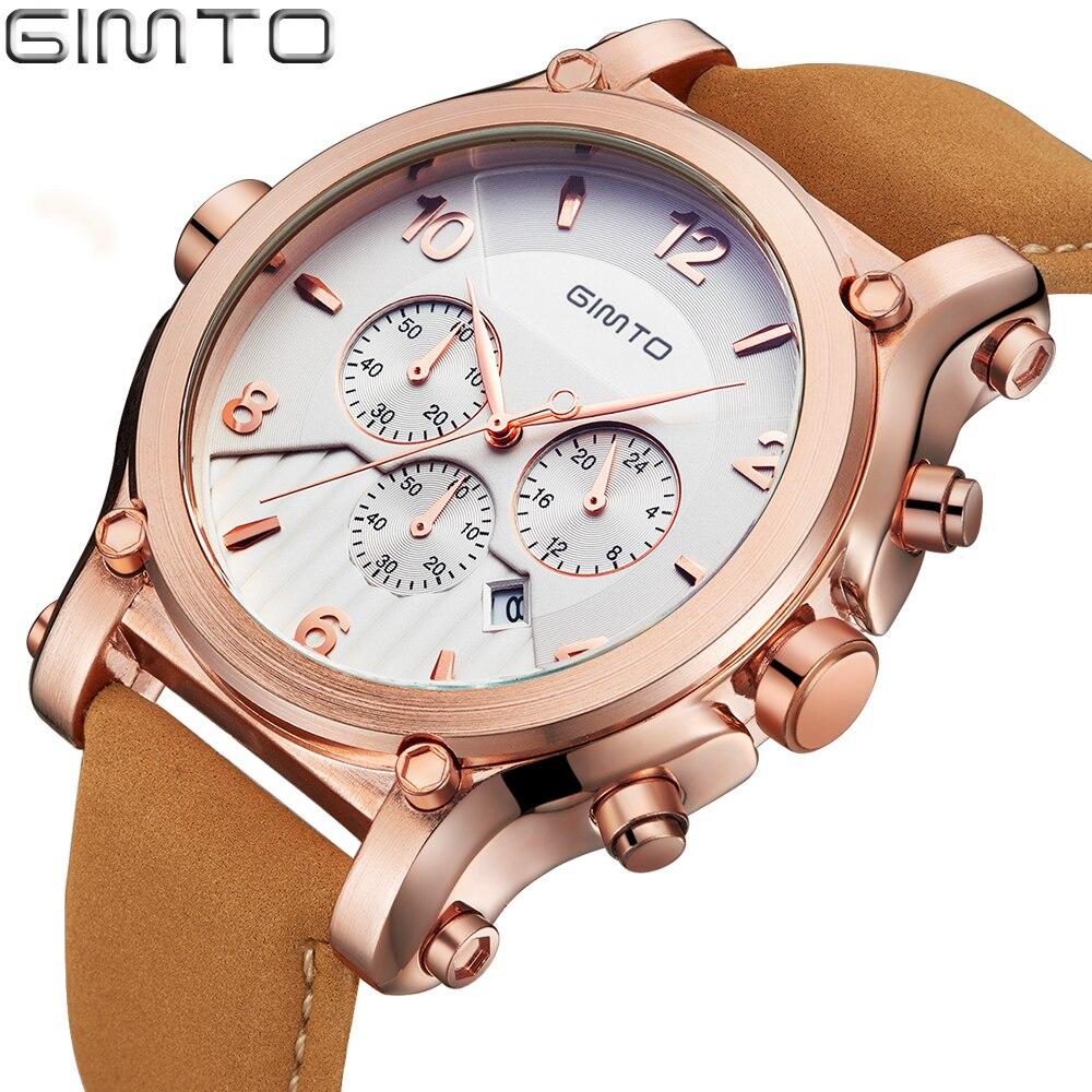 GIMTO Big Dial Luxury Men Watches Date Genuine Leather Military Quartz-watch Waterproof Sport Men Wrist Watch Montre Relojes<br><br>Aliexpress
