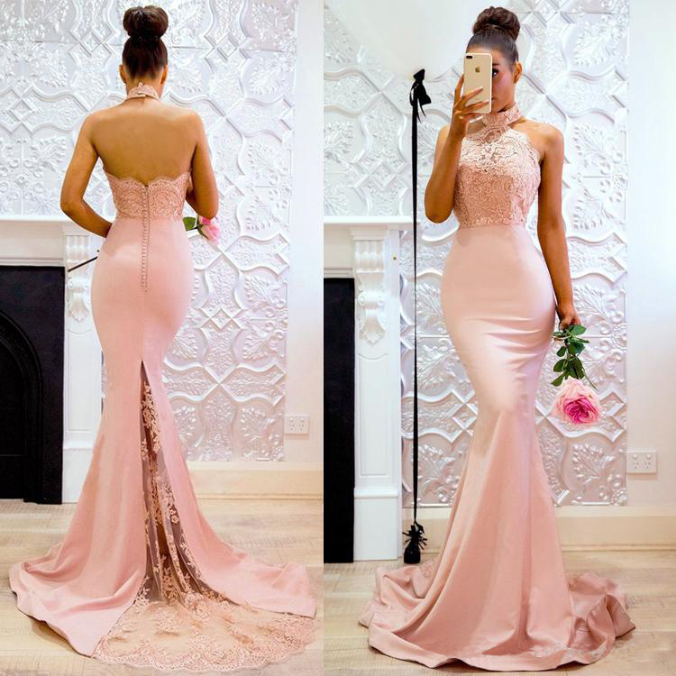 Setwell 2019 High Neck Mermaid Evening Dress Sleeveless Sexy Backless Lace Appliques Floor Length Party Prom Gown