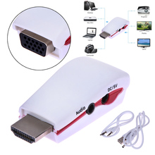 1080P HDMI Male to VGA Female Video Converter Adapter +USB Power Audio Cable For Xbox 360 PS3 PC TV In stock!
