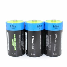 3pcs/lot Etinesan 1.5v  li-polymer 9000mWh D size rechargeable D battery D type USB powerful li-ion battery