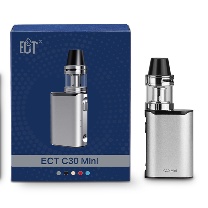 Original ECT C30 Mini Electronic Cigarette kit Top filling 2ml Atomizer 1200mAh Built-in Battery vaporizer 30w Box Mods