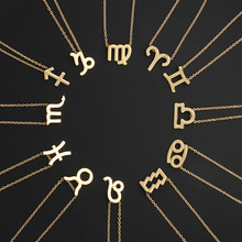 Star Zodiac Sign 12 Constellation Necklaces Pendants Choker Necklaces for Women Jewelry(China)