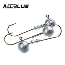 ALLBLUE Exposed Lead Jig Head 10g Barbed Hook 6pcs/lot 3 Style Soft Lure Jigging Hook Fishing Hooks