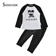 SOSOCOER Toddler Girl Clothing Sets Spring Autumn Letter T Shirt+Pant Rose 2pcs Kid Clothes 2017 New Heart Baby Boy Clothing Set