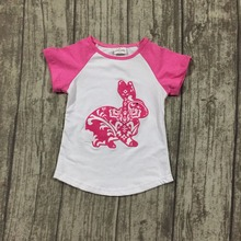 new arrival Easter baby girls print hot pink bunny cute kid wear cotton boutique top T-shirts raglans clothes white short sleeve(China)