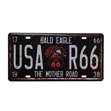 Vintage Metal Tin Signs Route 66 Car Number License Plate Plaque Poster Bar Club Wall Tavern Garage Home Decoration 15*30cm A133