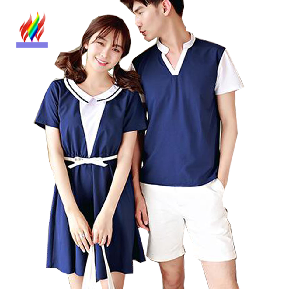 Couple Clothes For Lovers Summer Preppy Style School Dresses Sweet Girl Cute Japanese Style Casual A Line Peter Pan Collar Dress(China (Mainland))