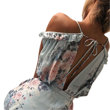 Boho Floral Print Ruffles Playsuits Shorts Rompers Womens Jumpsuit Summer Sexy V Neck Backless Casual Beach Overall Female GV643