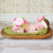 Newborn Baby Girl Crochet Flower Headwear Photography Props Outfits Infant Girl Cute Hat Birthday Picture Shoot Props Clothes(China)
