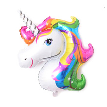 1pcs 33*39cm Cartoon Unicorn Balloon Aluminum Foil Balloons for Birthday Party inflatable balls Decoration Anagram Rainbow Gift