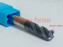 1pc 10mm hrc45 D10*25*D10*75*R2 Carbide 4 Flutes Corner Radius End mill  CNC Spiral Router bits Milling Tools