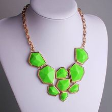 Trendy Apple Green faceted Resin Bead Bib Necklace Fashion Jewelry Candy Color Bubble Statement Designer PBN-065B(China)