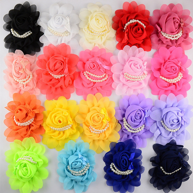 300pcs/lot Chiffon Hair Flowers For Baby Girls Boutique Flower With Beads Women Clothes DIY Accessories Wholesale Flower Supply(China (Mainland))