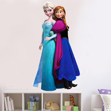 Fashion Cartoon movie princess Elsa Anna wall stickers girl gift Children room decoration removable kids bedroom poster decal(China)