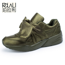 POLALI Spring New Fashion Breathable Shoes Women Silk Bow Tie Ribbon Satin Flats Lace-up Casual Comfortable Shoes Pink Green(China)