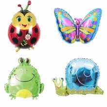 1pc Cute Cartoon Animal Foil Balloon for Birthday Party Anniversary Graduation Decoration Kid Gift, Ladybug/Butterfly/Frog/Snail(China)