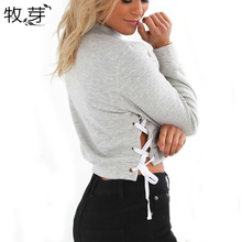 2017 Summer new women casual solid color side lace up hoodies long sleeve sexy Midriff-baring side gap female top