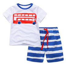 Little kids short sleeve pajamas set with cartoon red school bus for boys gilrs 2T-6T and toddler baby