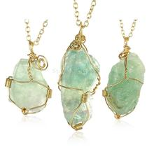 LSN013 New Fashion Gold Chain Light Green Irregular Natural Stone Pendant Necklace Women Collier Jewellery Popular Bijoux Items