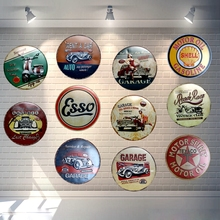Retro Car Motor Oil Round Tin Sign Metal Irregular Poster Iron Painting Wall Garage Pub Coffee Home Art Decor 30CM U-22(China)