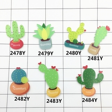 7 Option Green Cactus Plant Design Children Kid DIY Clothing Party Decoration Pin Badges