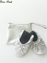 Free Shipping ! Hot Selling silver lady after party shoes roll up ballerina shoes with bag logo(China)