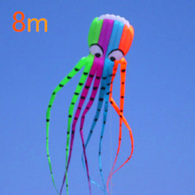 free shipping high quality large soft octopus kites nylon ripstop fabric with handle line flying toys outdoor mermaid box kite(China)