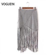 Buy VOGUE!N New Womens Ladies Sexy Elegant Houndstooth Irregular Tassels Mini Skirt for $14.71 in AliExpress store