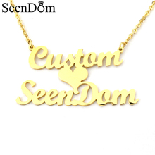 Personalized Custom 2 Names Necklace Customized Love Heart Choker Necklace Gold Color Handwriting Nameplate Couple Necklace(China)