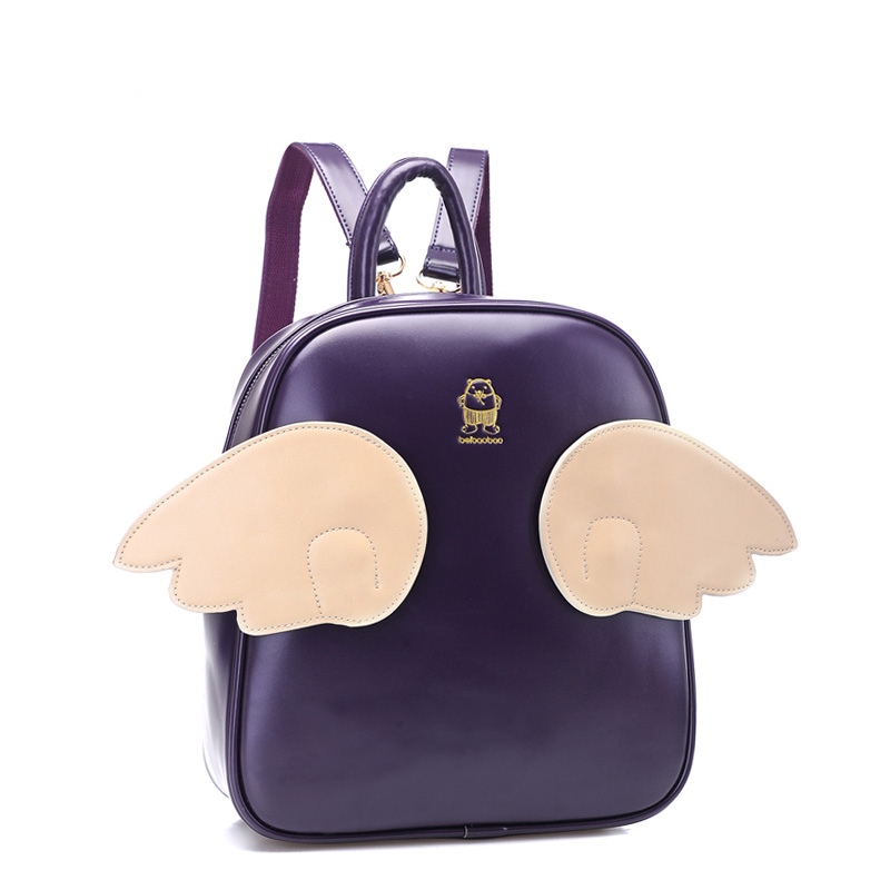 stacy bags hot sale brand new for spring women leather backpack girls small angel wings backpack lady leather travel bags<br><br>Aliexpress