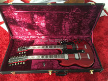 Hard Case for Gib Double neck SG EDS 1275 guitar with gold logo and red inside;gold hardware (CASE ONLY,Guitar not included)