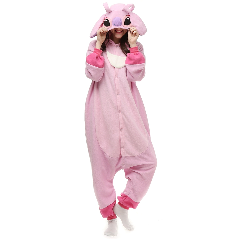 Kigurumi-Pink-Stitch-Polar-Fleece-Costume-Cartoon-Onesie-Pajama-Halloween-Carnival-
