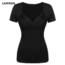 LASPERAL Summer Deep V Neck Sexy T-Shirts Women Milk Silk Slimming Pleated Tee Shirts Female Short Sleeve Casual Tee Tops 2017(China)